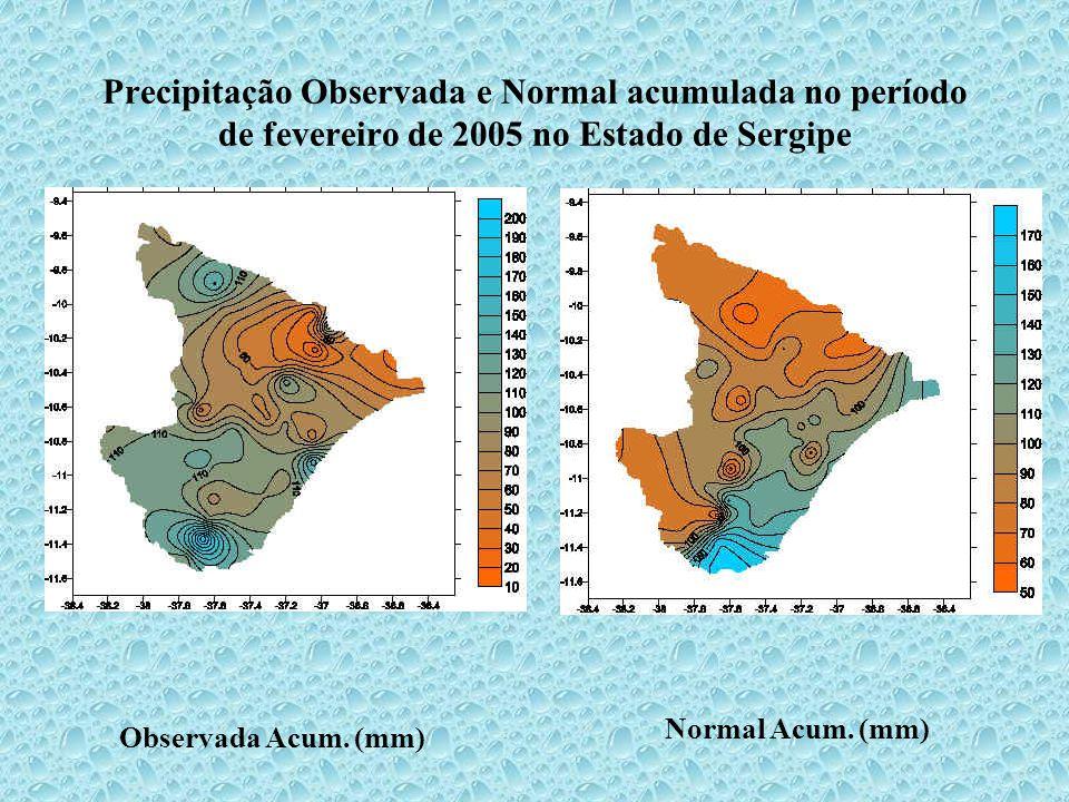 Precipitação Observada e Normal acumulada no período de fevereiro de 2005 no Estado de Sergipe Observada Acum.