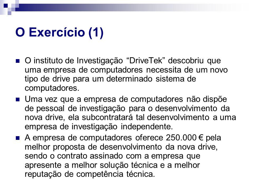 """O Exercício (1) O instituto de Investigação """"DriveTek"""" descobriu que uma empresa de computadores necessita de um novo tipo de drive para um determinad"""