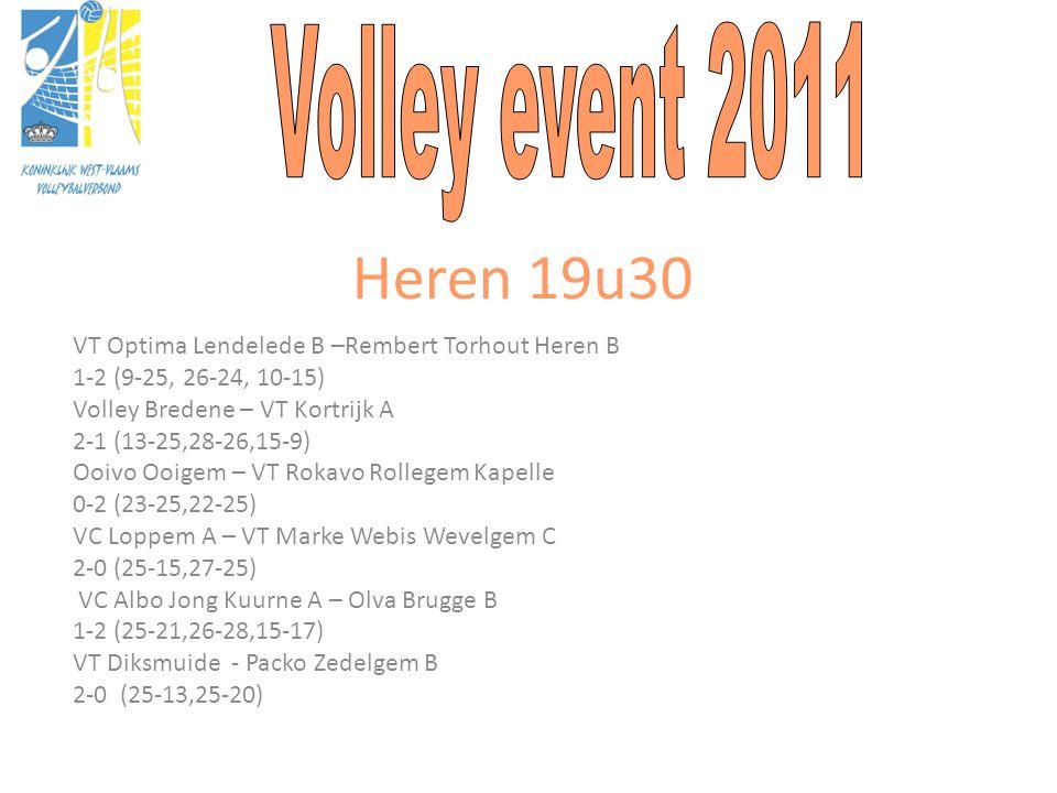 Heren 19u30 VT Optima Lendelede B –Rembert Torhout Heren B 1-2 (9-25, 26-24, 10-15) Volley Bredene – VT Kortrijk A 2-1 (13-25,28-26,15-9) Ooivo Ooigem – VT Rokavo Rollegem Kapelle 0-2 (23-25,22-25) VC Loppem A – VT Marke Webis Wevelgem C 2-0 (25-15,27-25) VC Albo Jong Kuurne A – Olva Brugge B 1-2 (25-21,26-28,15-17) VT Diksmuide - Packo Zedelgem B 2-0 (25-13,25-20)