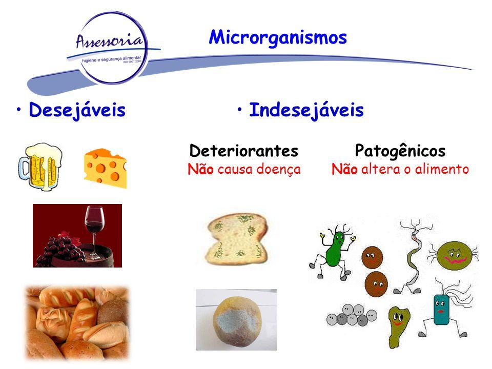 Desejáveis Indesejáveis Deteriorantes Não causa doença Patogênicos Não altera o alimento