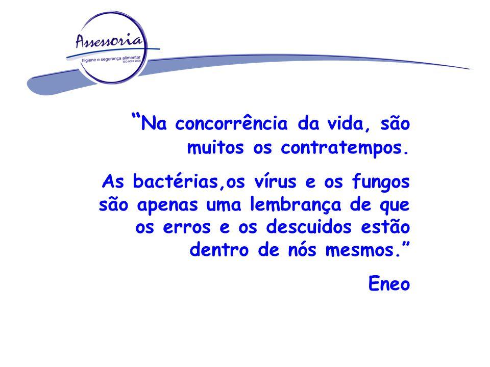 Microrganismos CABELO 1.500.000 bactérias/cm² PELE 2.500.000 bactérias/cm² SALIVA 750.000.000 bactérias/ml POROS 62.500 bactérias IMPORTANTE: Higiene Pessoal / Regras de Conduta
