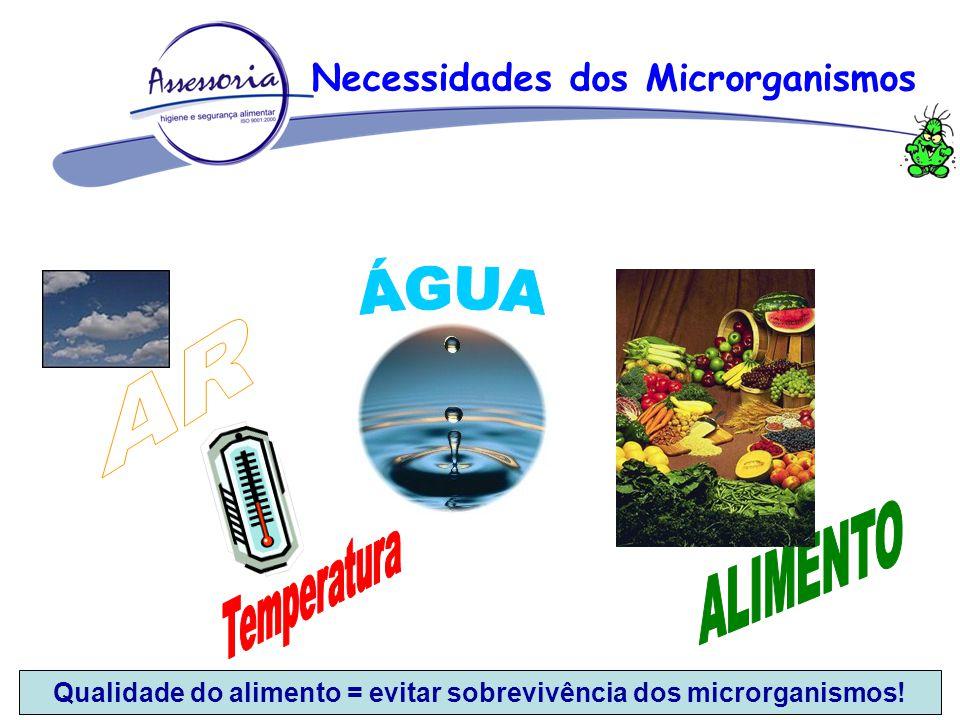 Necessidades dos Microrganismos Qualidade do alimento = evitar sobrevivência dos microrganismos!