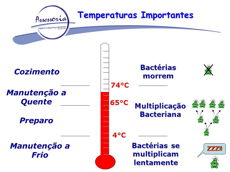 74°C 65°C 4°C Multiplicação Bacteriana Bactérias se multiplicam lentamente Bactérias morrem Cozimento Manutenção a Quente Preparo Manutenção a Frio ZZ
