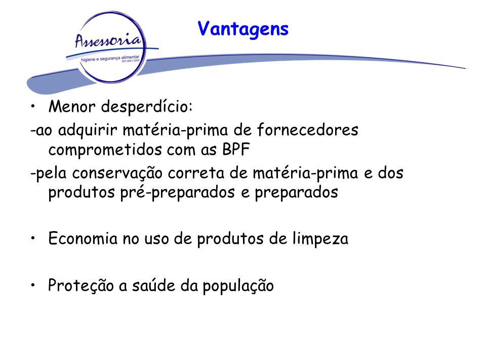 Vantagens Menor desperdício: -ao adquirir matéria-prima de fornecedores comprometidos com as BPF -pela conservação correta de matéria-prima e dos prod