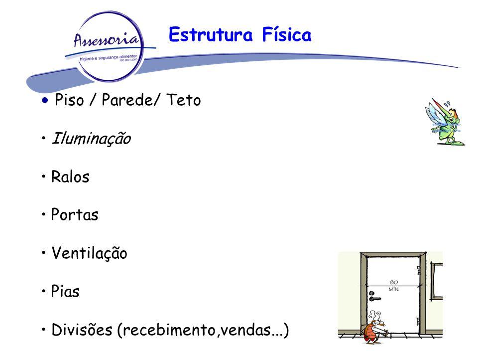Piso / Parede/ Teto Iluminação Ralos Portas Ventilação Pias Divisões (recebimento,vendas...) Estrutura Física