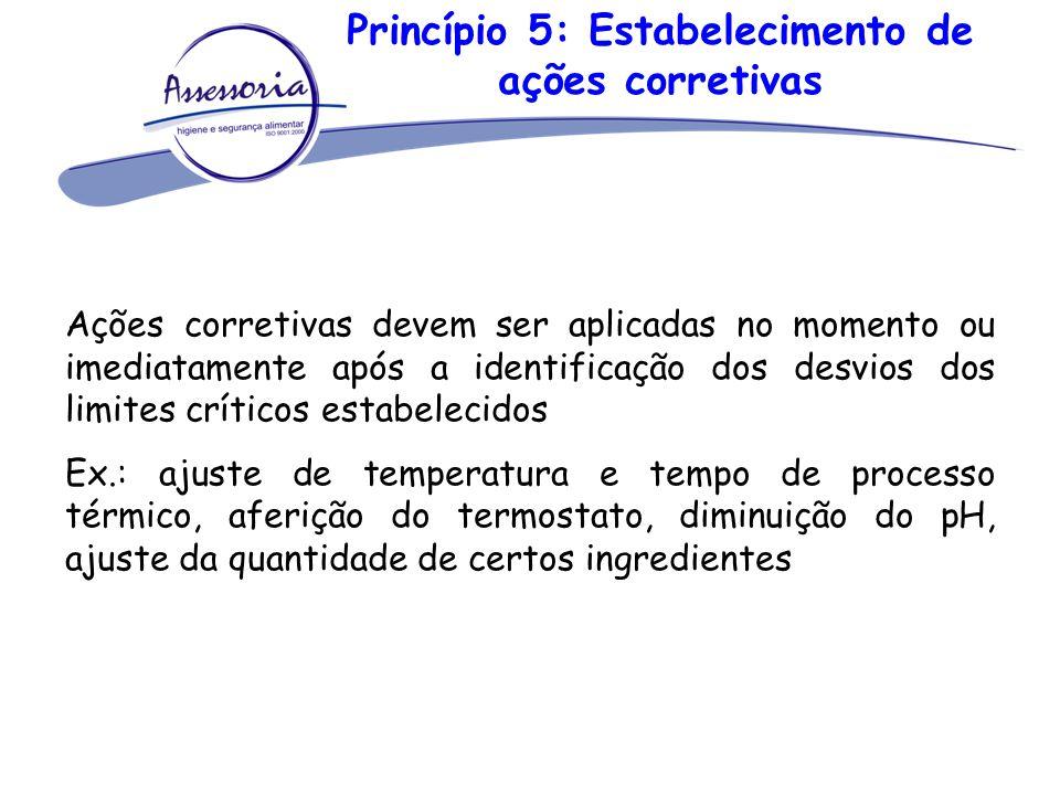 Princípio 5: Estabelecimento de ações corretivas Ações corretivas devem ser aplicadas no momento ou imediatamente após a identificação dos desvios dos