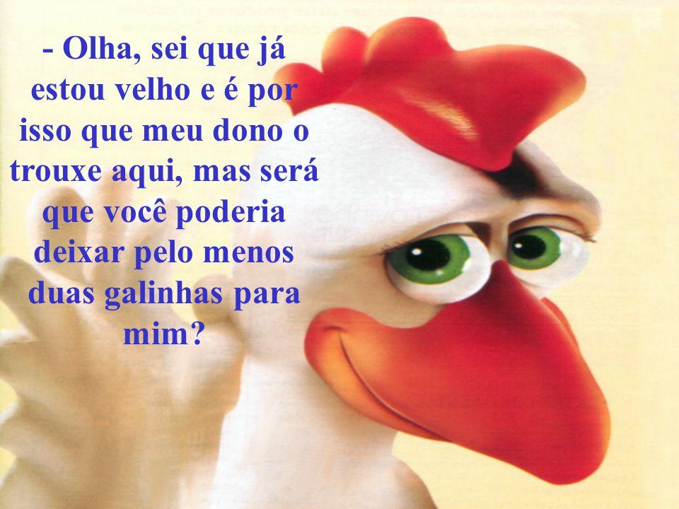 - Olha, sei que já estou velho e é por isso que meu dono o trouxe aqui, mas será que você poderia deixar pelo menos duas galinhas para mim?