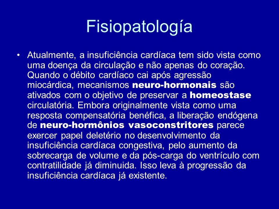 Fisiopatología Atualmente, a insuficiência cardíaca tem sido vista como uma doença da circulação e não apenas do coração. Quando o débito cardíaco cai