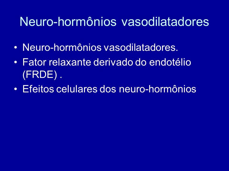 Neuro-hormônios vasodilatadores Neuro-hormônios vasodilatadores. Fator relaxante derivado do endotélio (FRDE). Efeitos celulares dos neuro-hormônios
