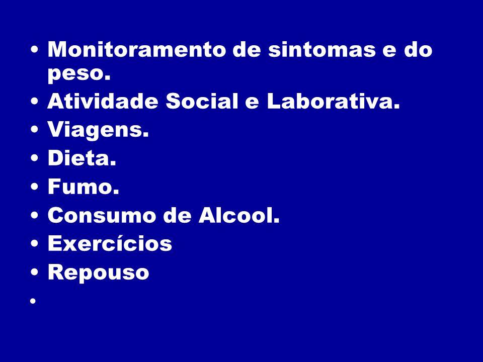 Monitoramento de sintomas e do peso. Atividade Social e Laborativa. Viagens. Dieta. Fumo. Consumo de Alcool. Exercícios Repouso