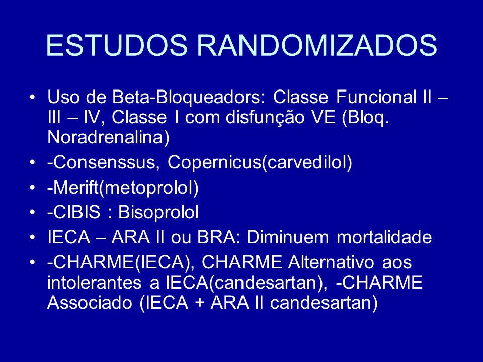 ESTUDOS RANDOMIZADOS Uso de Beta-Bloqueadors: Classe Funcional II – III – IV, Classe I com disfunção VE (Bloq. Noradrenalina) -Consenssus, Copernicus(