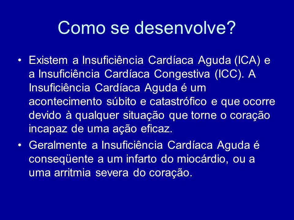 Como se desenvolve? Existem a Insuficiência Cardíaca Aguda (ICA) e a Insuficiência Cardíaca Congestiva (ICC). A Insuficiência Cardíaca Aguda é um acon
