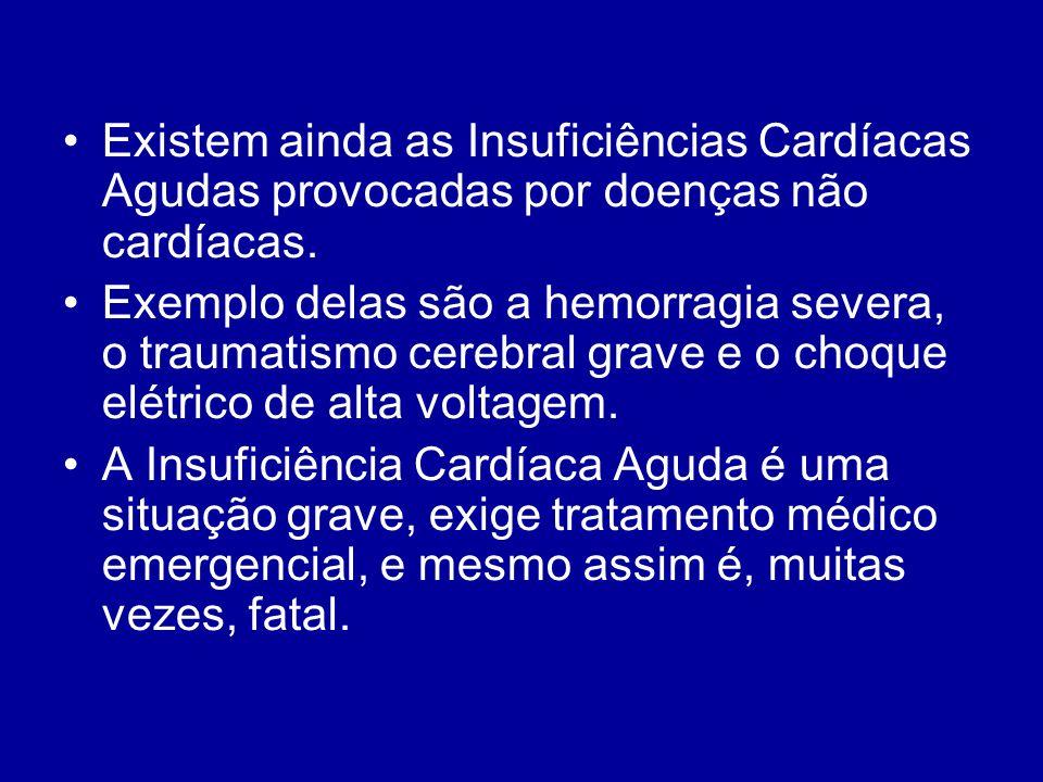 Existem ainda as Insuficiências Cardíacas Agudas provocadas por doenças não cardíacas. Exemplo delas são a hemorragia severa, o traumatismo cerebral g
