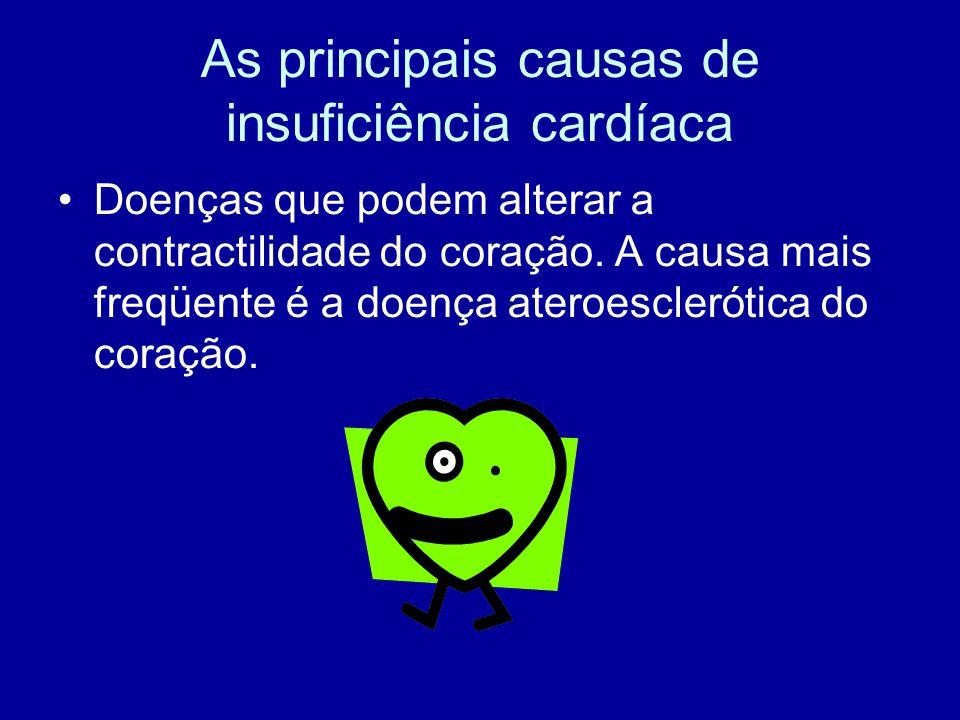 As principais causas de insuficiência cardíaca Doenças que podem alterar a contractilidade do coração. A causa mais freqüente é a doença ateroesclerót