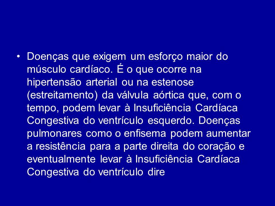 Doenças que exigem um esforço maior do músculo cardíaco. É o que ocorre na hipertensão arterial ou na estenose (estreitamento) da válvula aórtica que,