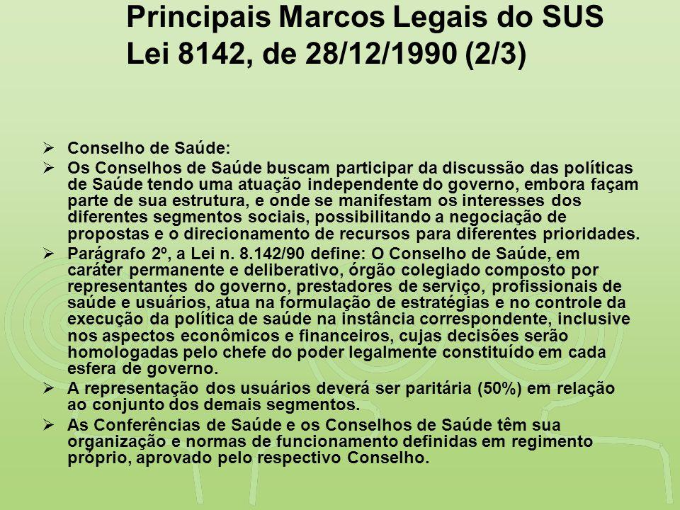 """""""SAÚDE"""" É DESENVOLVIMENTO NO VALE DO RIBEIRA Principais Marcos Legais do SUS Lei 8142, de 28/12/1990 (2/3)  Conselho de Saúde:  Os Conselhos de Saúd"""