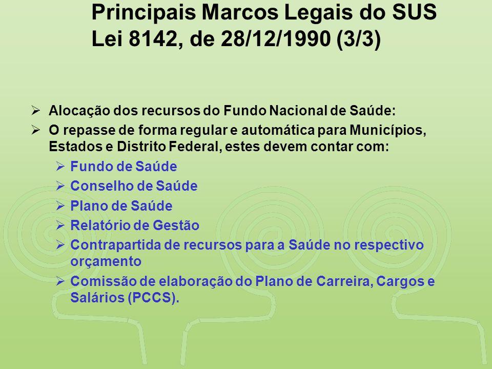 """""""SAÚDE"""" É DESENVOLVIMENTO NO VALE DO RIBEIRA Principais Marcos Legais do SUS Lei 8142, de 28/12/1990 (3/3)  Alocação dos recursos do Fundo Nacional d"""