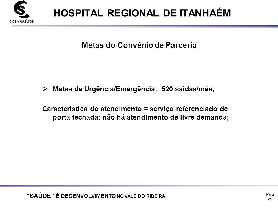 """""""SAÚDE"""" É DESENVOLVIMENTO NO VALE DO RIBEIRA Pág 29 HOSPITAL REGIONAL DE ITANHAÉM Metas do Convênio de Parceria MMetas de Urgência/Emergência: 520 s"""