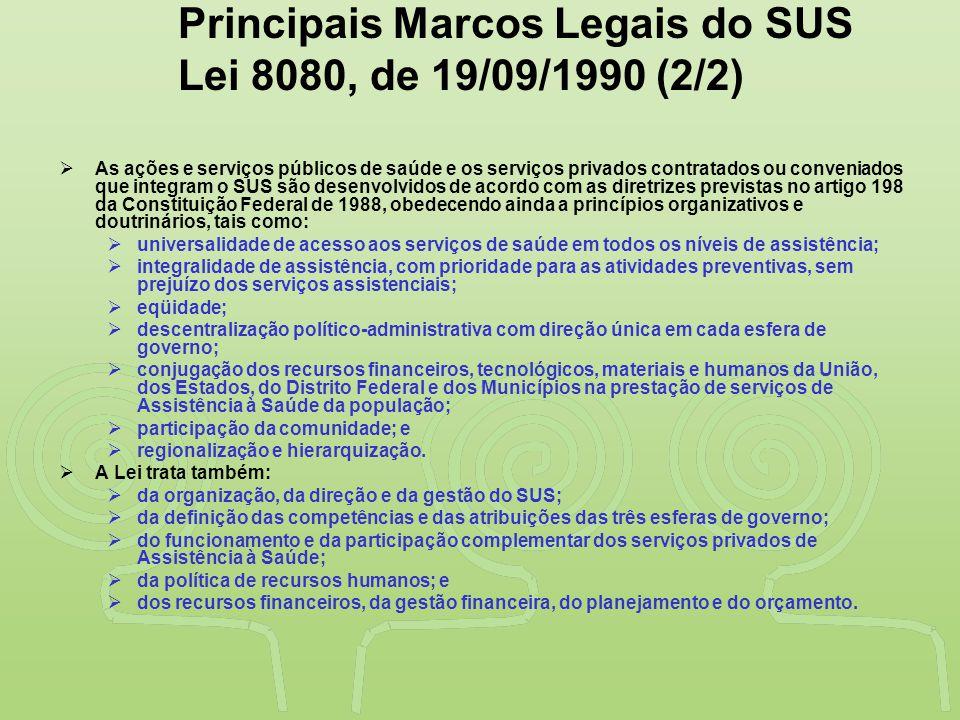 """""""SAÚDE"""" É DESENVOLVIMENTO NO VALE DO RIBEIRA Principais Marcos Legais do SUS Lei 8080, de 19/09/1990 (2/2)  As ações e serviços públicos de saúde e o"""