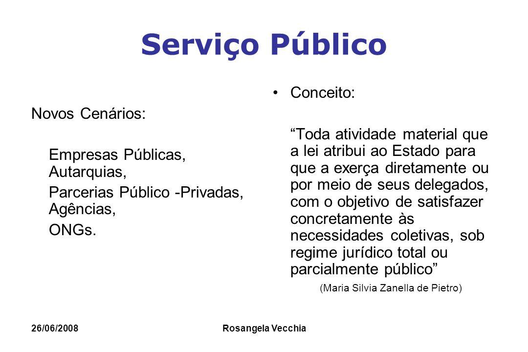 """26/06/2008 Rosangela Vecchia Serviço Público Novos Cenários: Empresas Públicas, Autarquias, Parcerias Público -Privadas, Agências, ONGs. Conceito: """"To"""