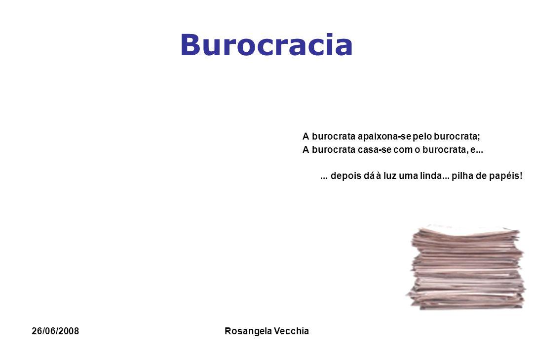 26/06/2008 Rosangela Vecchia Burocracia- Max Weber: Weber: estudo das organizações como parte do contexto social, influenciada pelas mudanças sociais, políticas e religiosas da época.