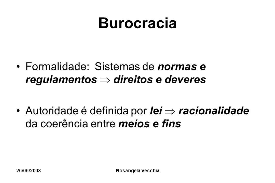 26/06/2008 Rosangela Vecchia Burocracia Formalidade: Sistemas de normas e regulamentos  direitos e deveres Autoridade é definida por lei  racionalid