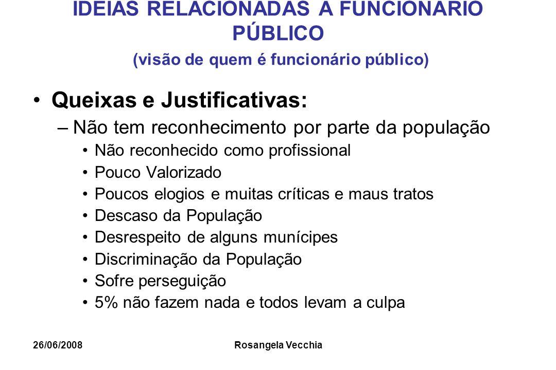 26/06/2008 Rosangela Vecchia IDÉIAS RELACIONADAS À FUNCIONÁRIO PÚBLICO (visão de quem é funcionário público) Queixas e Justificativas: –Não tem reconh