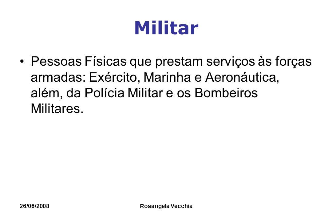 26/06/2008 Rosangela Vecchia Militar Pessoas Físicas que prestam serviços às forças armadas: Exército, Marinha e Aeronáutica, além, da Polícia Militar