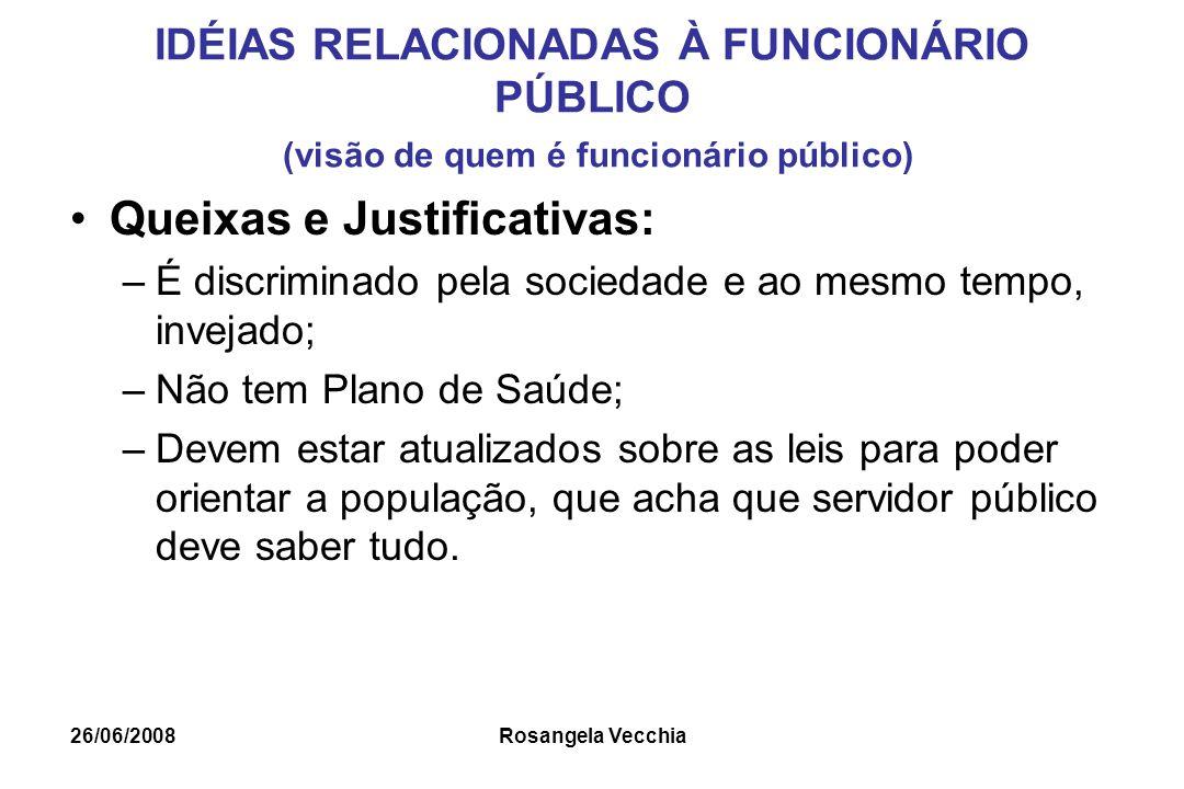 26/06/2008 Rosangela Vecchia IDÉIAS RELACIONADAS À FUNCIONÁRIO PÚBLICO (visão de quem é funcionário público) Queixas e Justificativas: –É discriminado