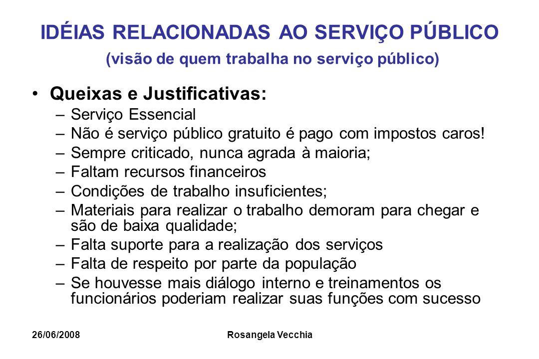 26/06/2008 Rosangela Vecchia IDÉIAS RELACIONADAS AO SERVIÇO PÚBLICO (visão de quem trabalha no serviço público) Queixas e Justificativas: –Serviço Ess