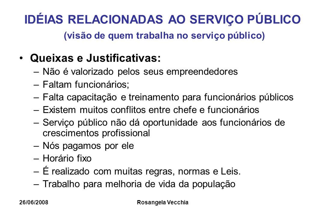 26/06/2008 Rosangela Vecchia IDÉIAS RELACIONADAS AO SERVIÇO PÚBLICO (visão de quem trabalha no serviço público) Queixas e Justificativas: –Não é valor