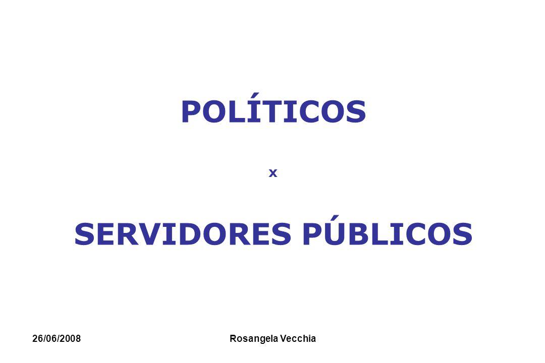 26/06/2008 Rosangela Vecchia POLÍTICOS x SERVIDORES PÚBLICOS