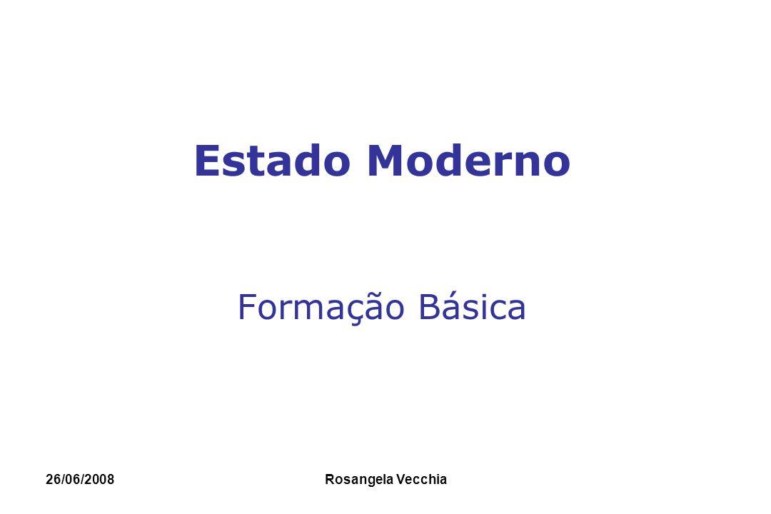 26/06/2008 Rosangela Vecchia ESTADO MODERNO A construção do Estado Moderno - início no século XV- Maquiavel, Hobbes, Locke, Rosseau, Montesquieu.