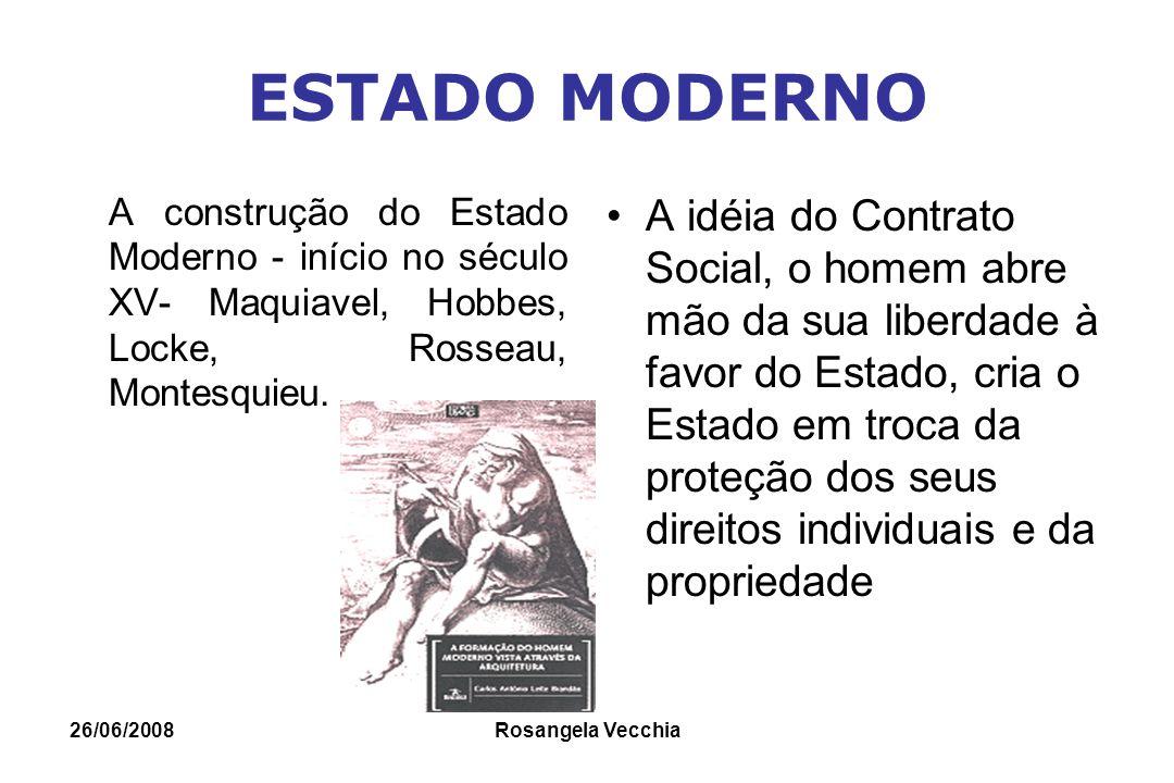 26/06/2008 Rosangela Vecchia ESTADO MODERNO A construção do Estado Moderno - início no século XV- Maquiavel, Hobbes, Locke, Rosseau, Montesquieu. A id