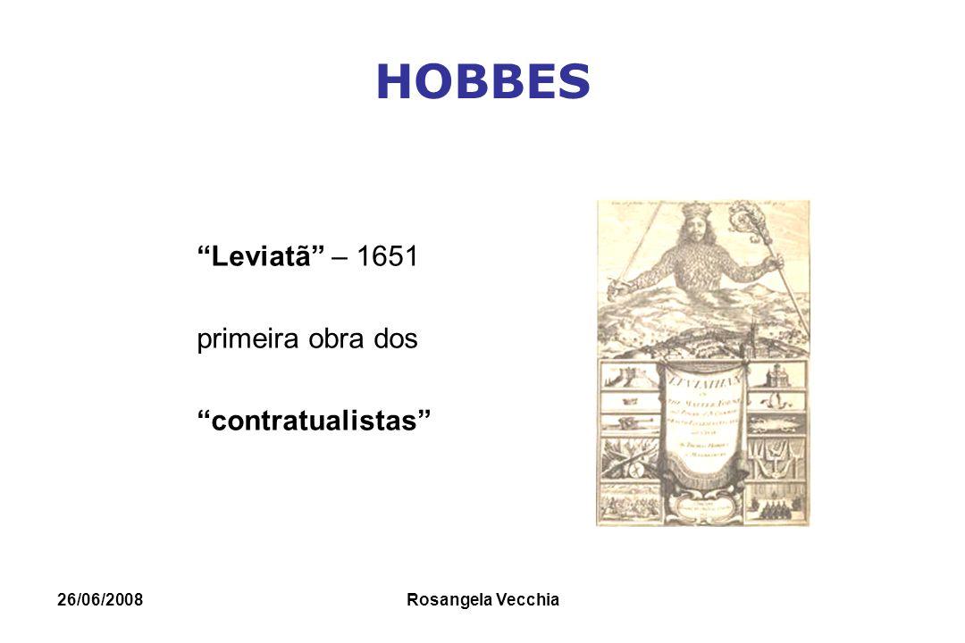 """26/06/2008 Rosangela Vecchia HOBBES """"Leviatã"""" – 1651 primeira obra dos """"contratualistas"""""""
