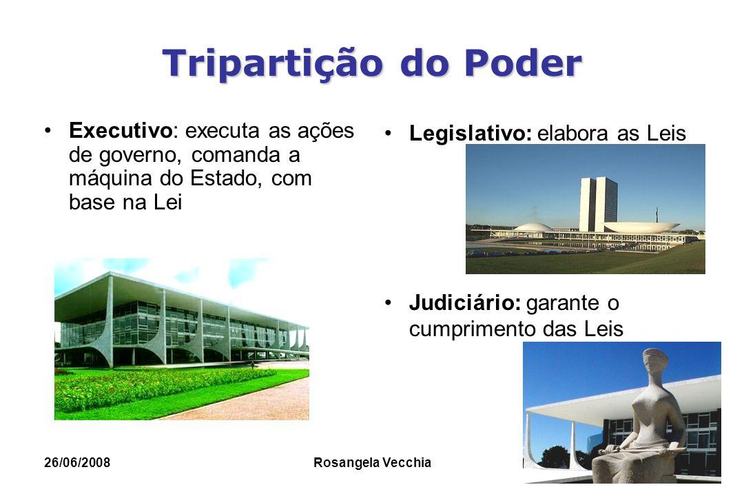 26/06/2008 Rosangela Vecchia Tripartição do Poder Executivo: executa as ações de governo, comanda a máquina do Estado, com base na Lei Legislativo: el