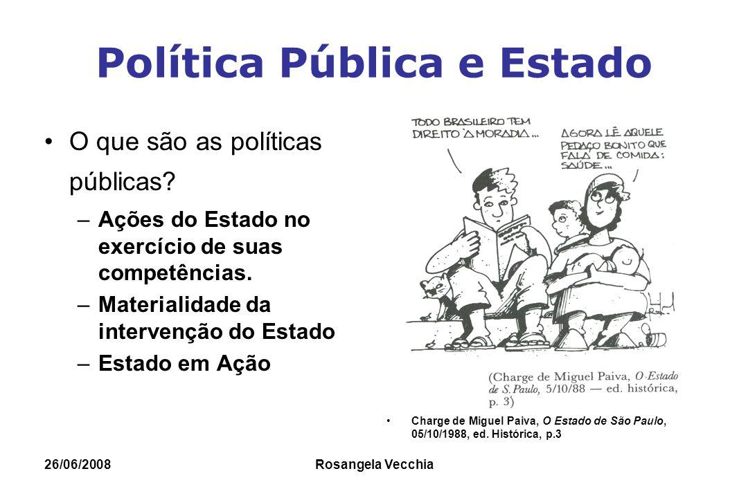 26/06/2008 Rosangela Vecchia Elementos de Política Pública Marco Legal Campo de Conhecimento Técnico Específico Tem Indicadores Específicos e depende de indicadores gerais Precisam ser planejadas