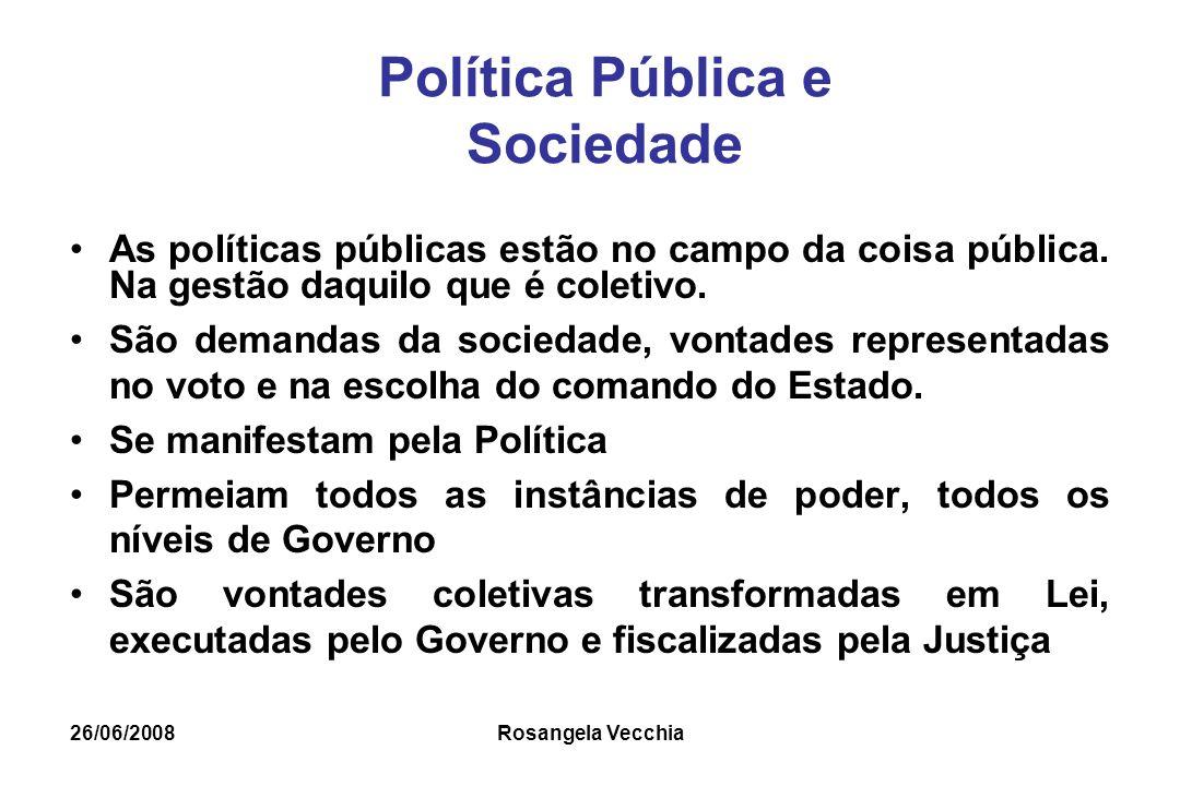 26/06/2008 Rosangela Vecchia Política Pública e Sociedade As políticas públicas estão no campo da coisa pública. Na gestão daquilo que é coletivo. São