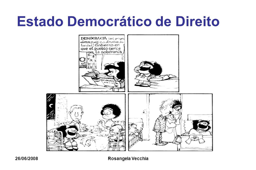 26/06/2008 Rosangela Vecchia Democracia A democracia é a pior de todas as formas imagináveis de governo, com exceção de todas as demais que já existiram (Winston Churchill)