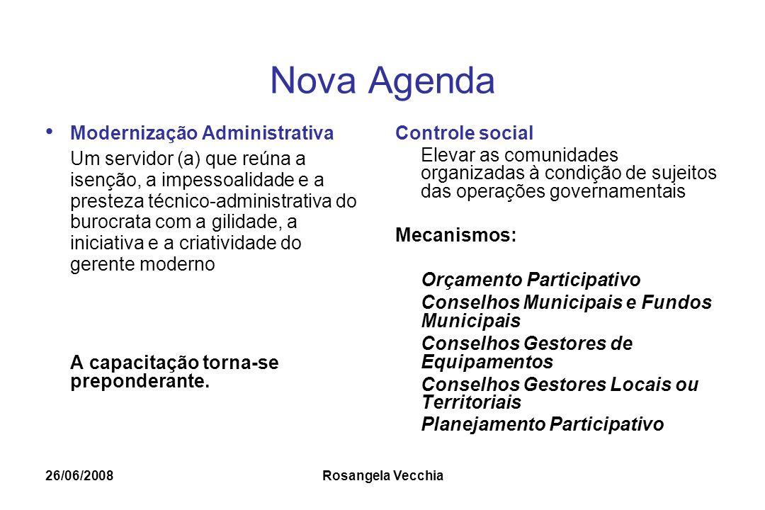 26/06/2008 Rosangela Vecchia Nova Agenda Modernização Administrativa Um servidor (a) que reúna a isenção, a impessoalidade e a presteza técnico-admini