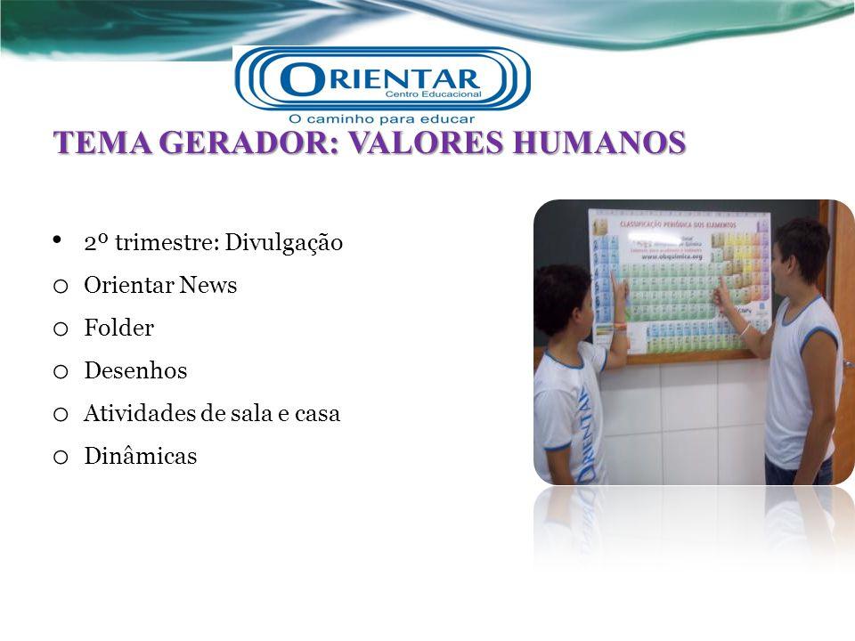 TEMA GERADOR: VALORES HUMANOS 2º trimestre: Divulgação o Orientar News o Folder o Desenhos o Atividades de sala e casa o Dinâmicas