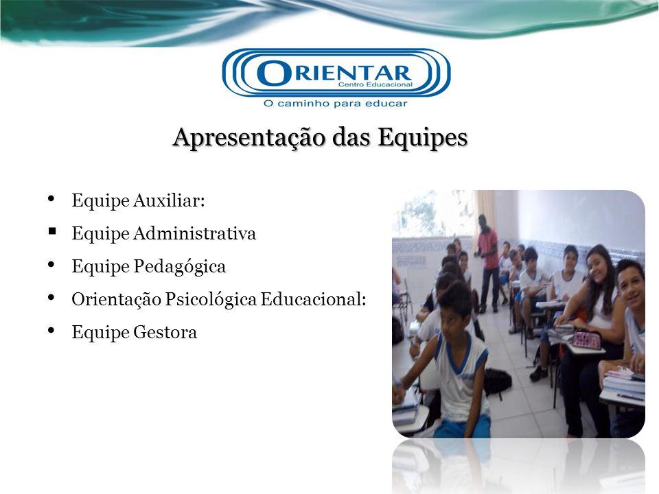 Apresentação das Equipes Equipe Auxiliar:  Equipe Administrativa Equipe Pedagógica Orientação Psicológica Educacional: Equipe Gestora