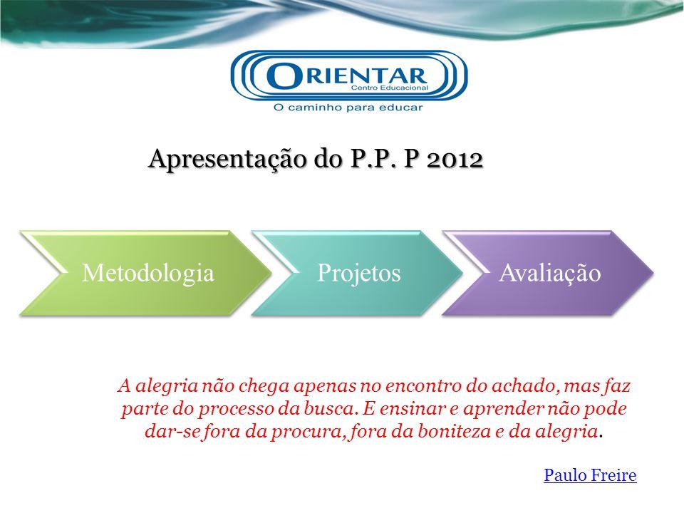 MetodologiaProjetosAvaliação Apresentação do P.P. P 2012 A alegria não chega apenas no encontro do achado, mas faz parte do processo da busca. E ensin