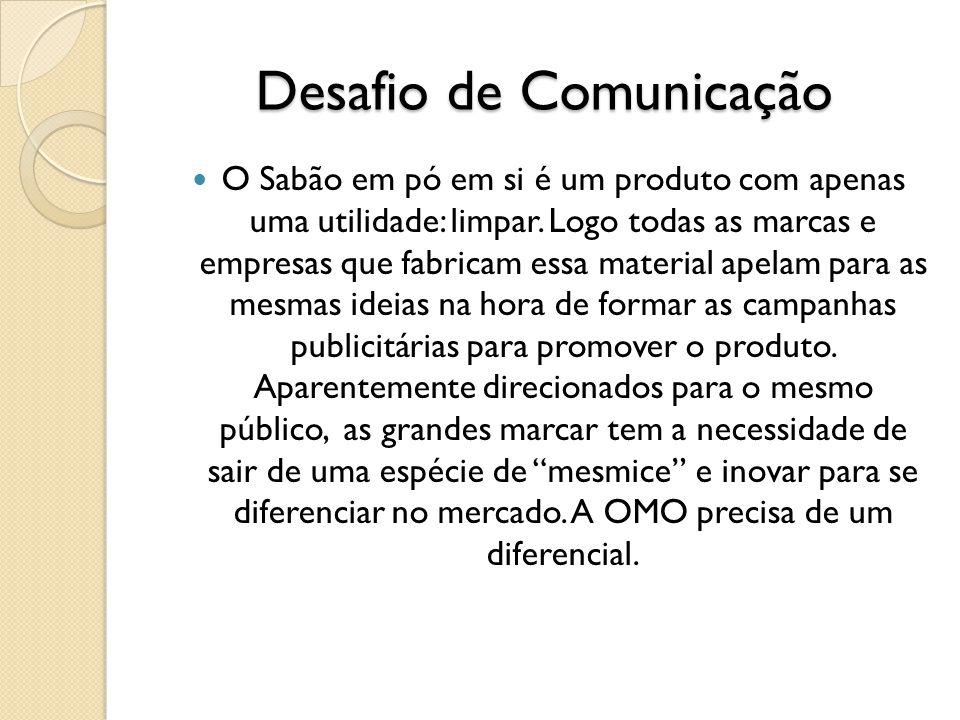 Desafio de Comunicação O Sabão em pó em si é um produto com apenas uma utilidade: limpar. Logo todas as marcas e empresas que fabricam essa material a