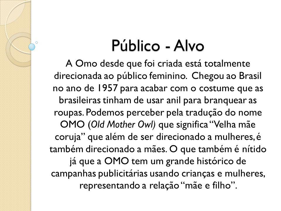 Público - Alvo A Omo desde que foi criada está totalmente direcionada ao público feminino. Chegou ao Brasil no ano de 1957 para acabar com o costume q
