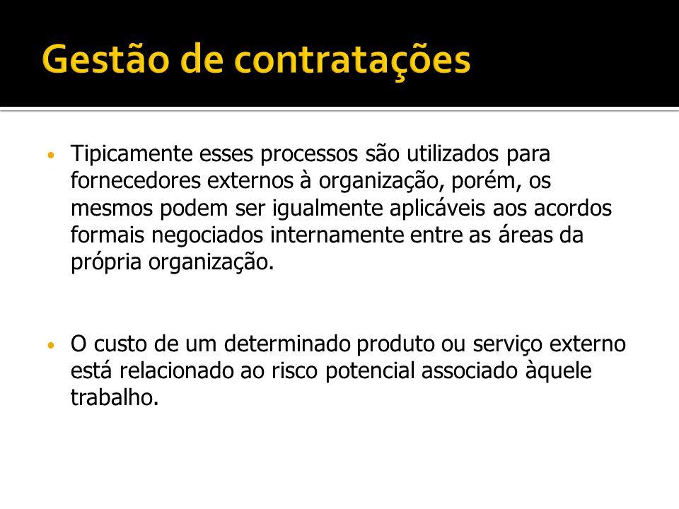 Tipicamente esses processos são utilizados para fornecedores externos à organização, porém, os mesmos podem ser igualmente aplicáveis aos acordos form