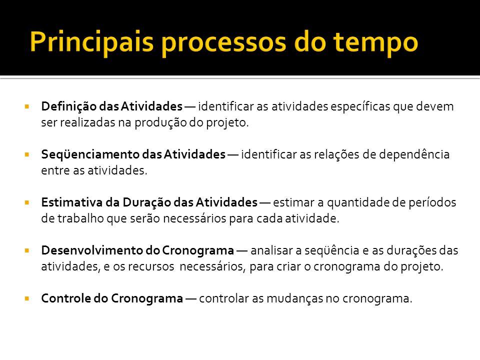  Definição das Atividades — identificar as atividades específicas que devem ser realizadas na produção do projeto.  Seqüenciamento das Atividades —