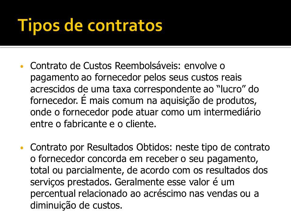 """Contrato de Custos Reembolsáveis: envolve o pagamento ao fornecedor pelos seus custos reais acrescidos de uma taxa correspondente ao """"lucro"""" do fornec"""