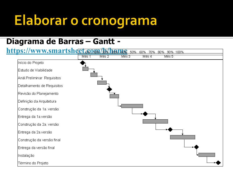 Diagrama de Barras – Gantt - https://www.smartsheet.com/b/home https://www.smartsheet.com/b/home Montar o Cronograma