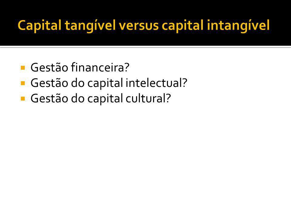  Gestão financeira?  Gestão do capital intelectual?  Gestão do capital cultural?